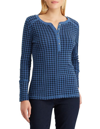 Chaps Buffalo Check Henley-BLUE-X-Large