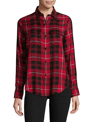 Chaps Jennifer Plaid Button-Down Shirt-RED-Small