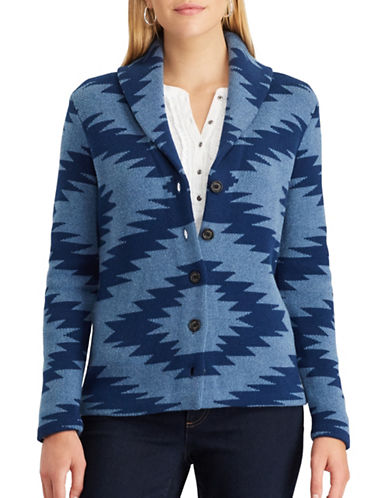 Chaps Cotton Cardigan-BLUE-X-Small