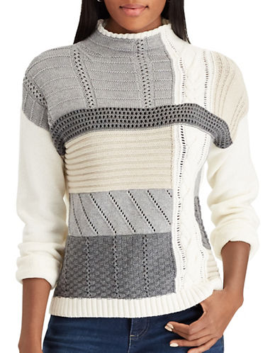 Chaps Evy Long-Sleeve Sweater-WHITE MULTI-X-Small