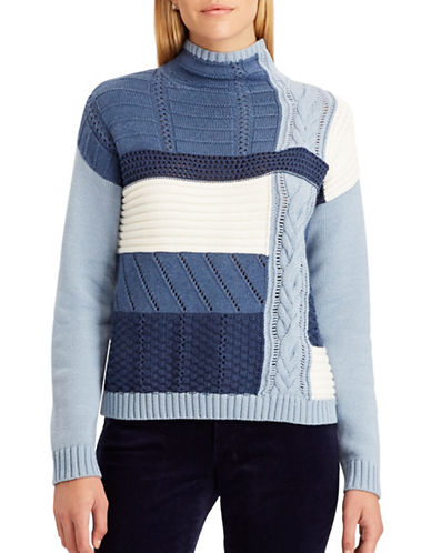 Chaps Mock Neck Sweater-BLUE-Large