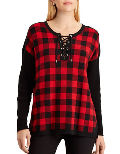 Chaps Plaid Top-RED-Large