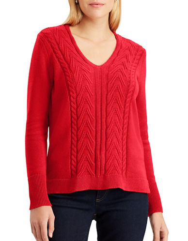 Chaps Quinny Long-Sleeve Cotton Sweater-RED-X-Large