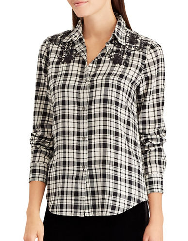 Chaps Cotton Button-Down Shirt-NATURAL-X-Small