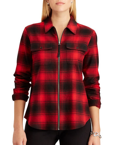 Chaps Sami Long-Sleeve Cotton Shirt-RED/BLACK-Small
