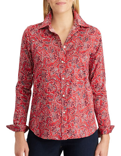 Chaps Jamie Cotton Button-Down Shirt-RED-Medium