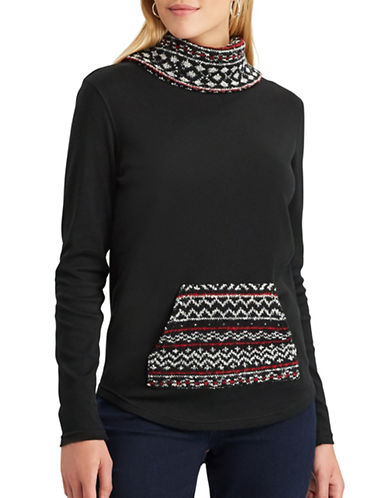 Chaps Mulder Mock Neck Sweater-BLACK-Medium