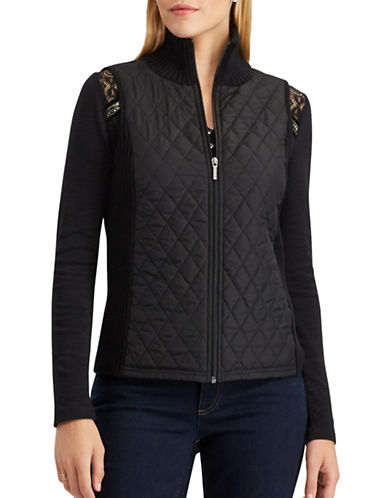 Chaps Jiro Quilted Front Cotton Vest-BLACK-Small