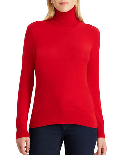 Chaps Peggy Cotton Turtleneck-RED-X-Small