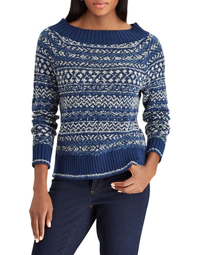 Chaps Fair Isle Patterned Sweater-BLUE-Small