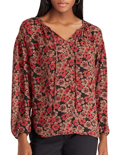 Chaps Tally Floral Peasant Sleeve Blouse-BLACK MULTI-X-Large