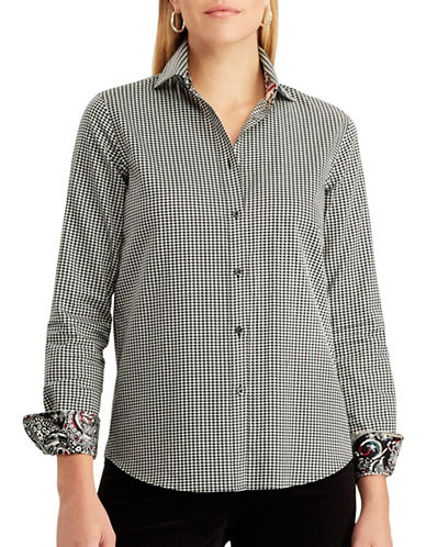 Chaps Printed Button Shirt-BLACK-X-Large