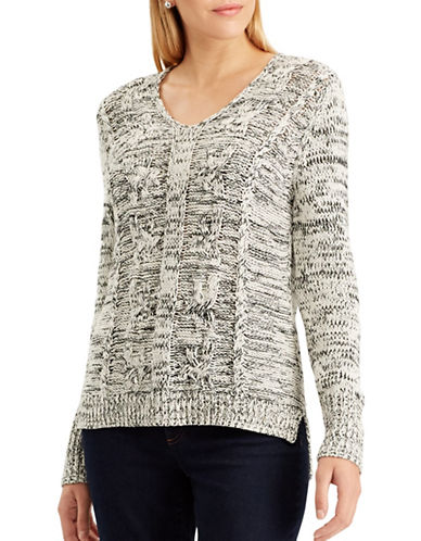 Chaps Petite Quinny Long-Sleeve Sweater-WHITE-Petite Large