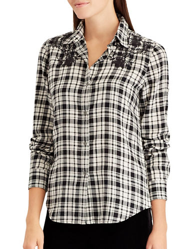 Chaps Petite Judy Cotton Button-Down Shirt-NATURAL-Petite X-Small