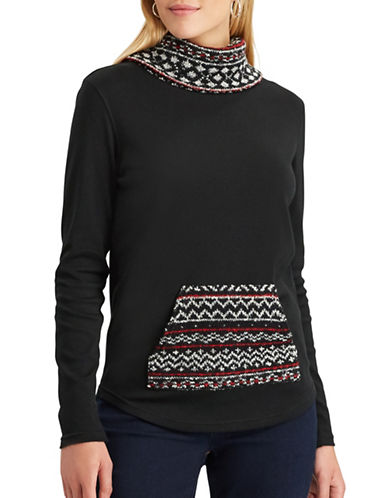 Chaps Petite Mulder Mock Neck Sweater-BLACK-Petite Medium