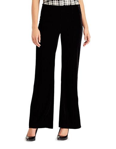 Chaps Petite Dave Straight Velvet Pants-BLACK-Petite 12