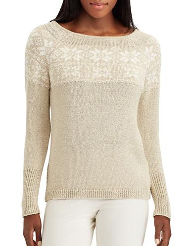 Chaps Petite Parker Floral Sweater-GOLD-Petite X-Large