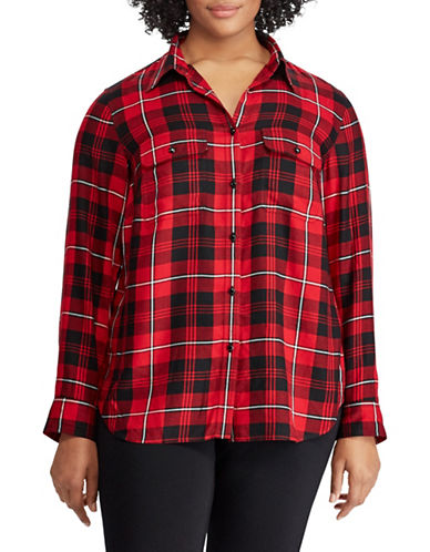 Chaps Plus Plaid Cotton Button-Down Shirt-RED MULTI-1X