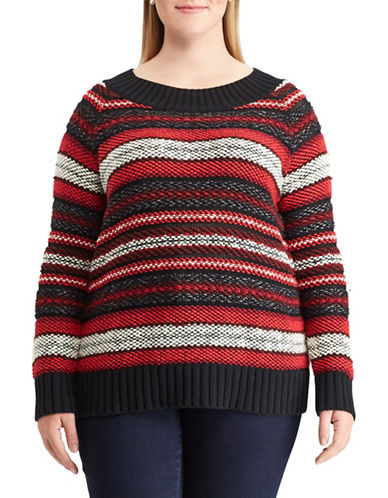 Chaps Plus Striped Crew Neck Sweater-BLACK-1X