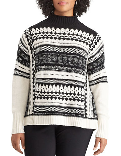 Chaps Plus Madison Geometric Cotton Sweater-BLACK-1X