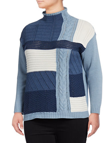 Chaps Plus Mock Neck Sweater-BLUE-1X