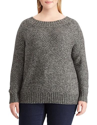 Chaps Plus Marled Crew Sweater-BLACK-2X
