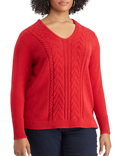 Chaps Plus Quinny Long-Sleeve Sweater-RED-1X