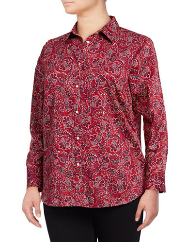 Chaps Plus Cotton Button-Down Shirt-RED MULTI-2X