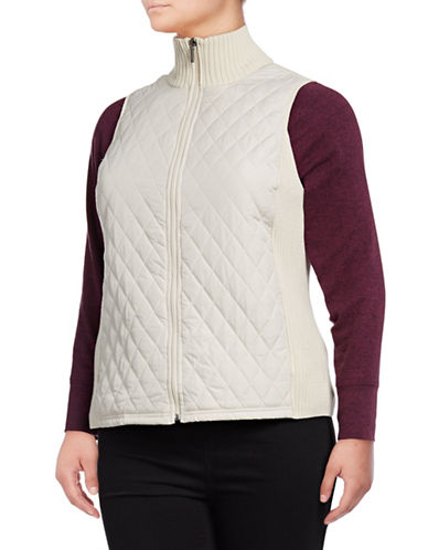 Chaps Plus Quilted Front Cotton Vest-NATURAL-3X