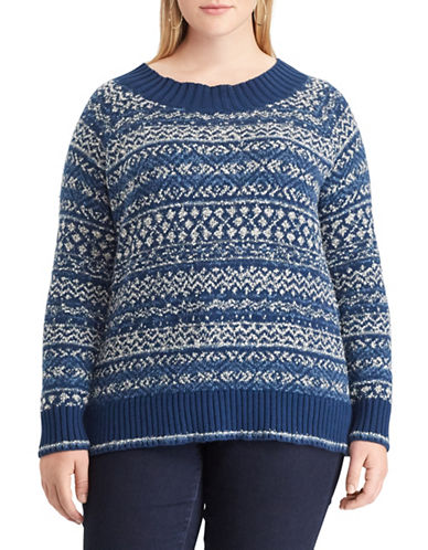 Chaps Plus Fair Isle Sweater-BLUE-1X