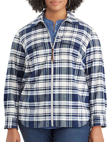 Chaps Plus Long-Sleeve Cotton Shirt-BLUE-1X