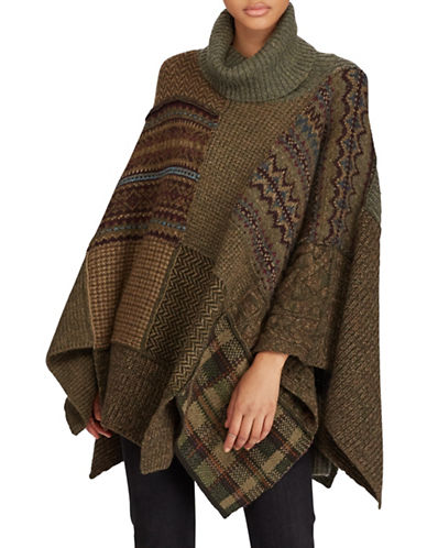 Polo Ralph Lauren Patchwork Poncho-BEIGE-X-Small/Small