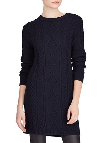Polo Ralph Lauren Aran-Knit Wool Sweater Dress-NAVY-Small