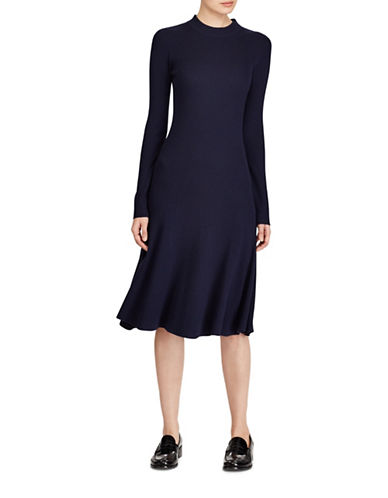Polo Ralph Lauren Ribbed Drop-Waist Wool Fit-and-Flare Dress-BLUE-Large