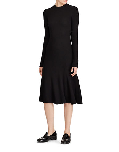 Polo Ralph Lauren Merino Wool Fit-And-Flare Dress-BLACK-Medium