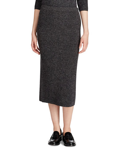 Polo Ralph Lauren Wool and Cashmere Blend Midi Skirt-BLACK/GREY-Small