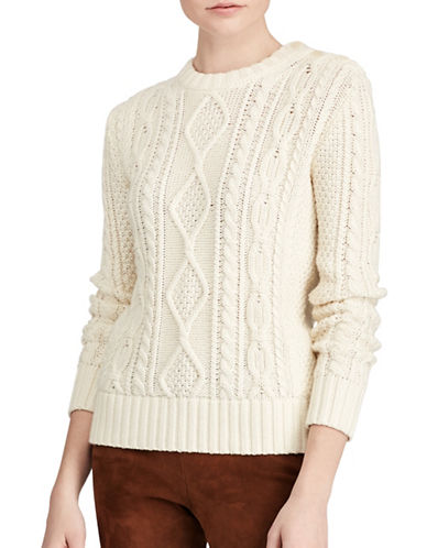 Polo Ralph Lauren Aran-Knit Buttoned Sweater-CREAM-X-Small