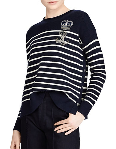 Polo Ralph Lauren Bullion Striped Wool Sweater-NAVY/CREAM-Medium