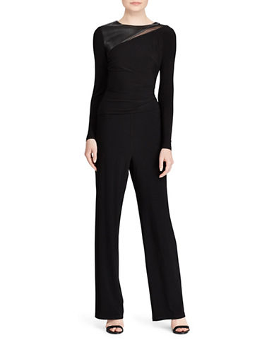 Lauren Ralph Lauren Paneled Jersey Wide-Leg Jumpsuit-BLACK-18