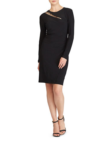 Lauren Ralph Lauren Cutout Jersey Sheath Dress-BLACK-0