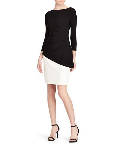 Lauren Ralph Lauren Peplum Two-Tone Sheath Dress-BLACK/PEARL-0