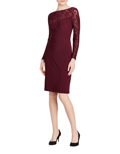 Lauren Ralph Lauren Cook Lace-Trim Jersey Sheath Dress-RIOJA-2