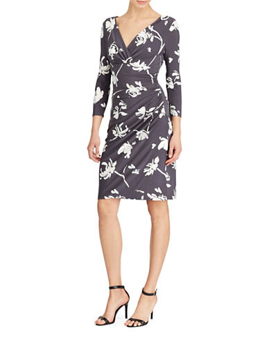 Lauren Ralph Lauren Floral-Print Jersey Sheath Dress-SLATE/CREAM-8