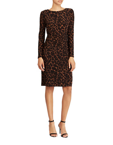Lauren Ralph Lauren Jersey Ocelot Print Sheath Dress-BROWN-2