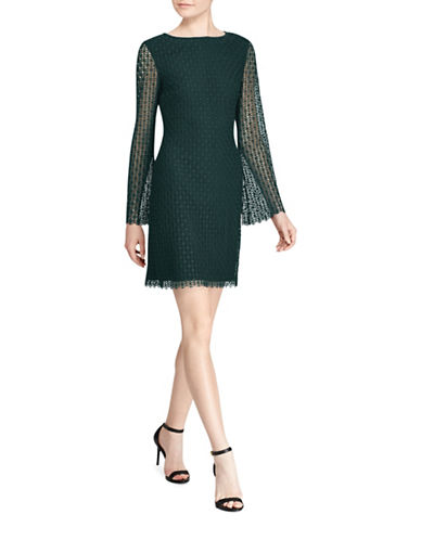 Lauren Ralph Lauren Cushnie Geometric Lace Shift Dress-GREEN-4