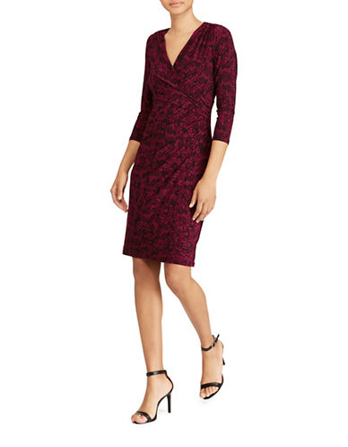 Lauren Ralph Lauren Printed Jersey Sheath Dress-RED/BLACK-0