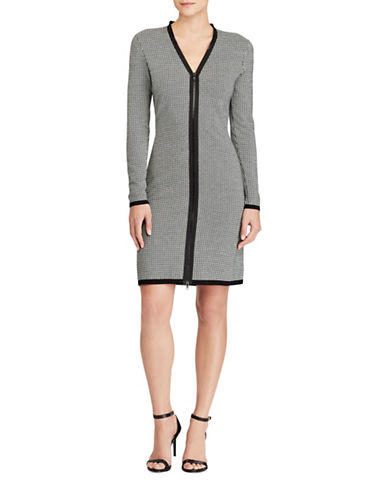 Lauren Ralph Lauren Houndstooth Sheath Dress-BLACK/WHITE-Medium