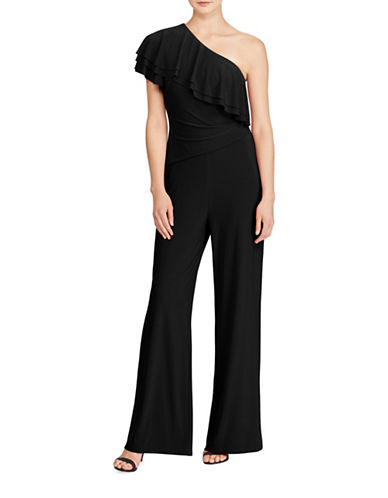 Lauren Ralph Lauren Jersey Wide-Leg One-Shoulder Jumpsuit-BLACK-0