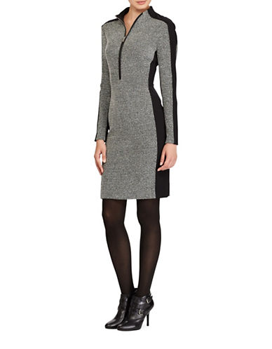 Lauren Ralph Lauren Mockneck Sheath Dress-GREY/BLACK-16