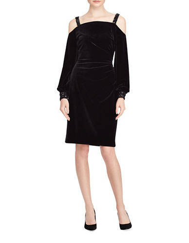 Lauren Ralph Lauren Velvet Off-the-Shoulder Dress-BLACK-14